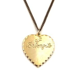 "Jewelry - Vintage ""I Belong To"" Heart Pendant Necklace Gold"